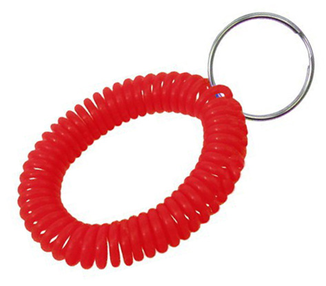 translucent red wrist coil with split key ring