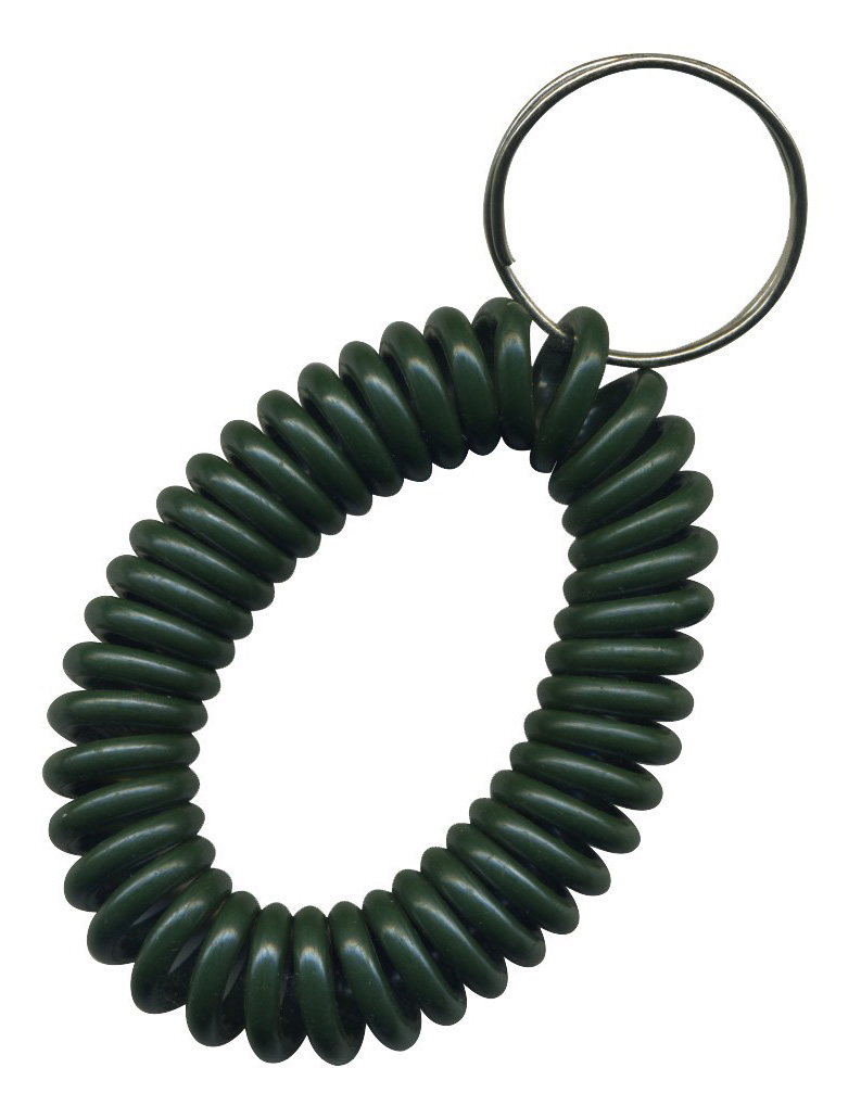 solid dark green wrist coil with split key ring