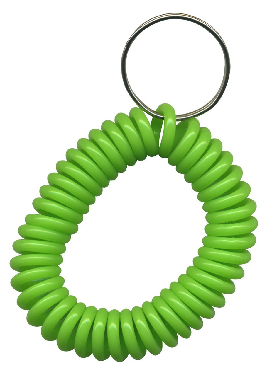 solid lime green wrist coil with split key ring