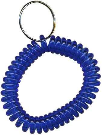 translucent dark blue wrist coil with split key ring
