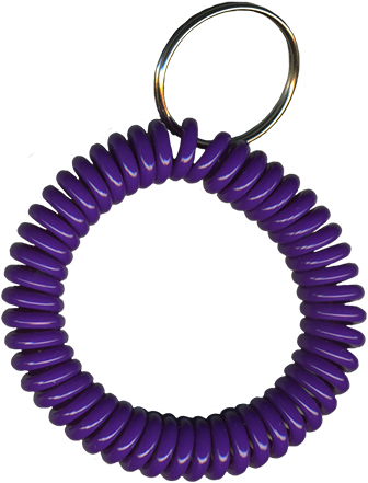 solid purple wrist coil with split key ring