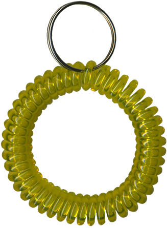 translucent yellow wrist coil with split key ring
