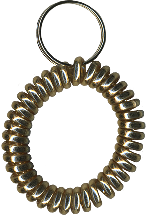 metallic gold wrist coil with spilt key ring