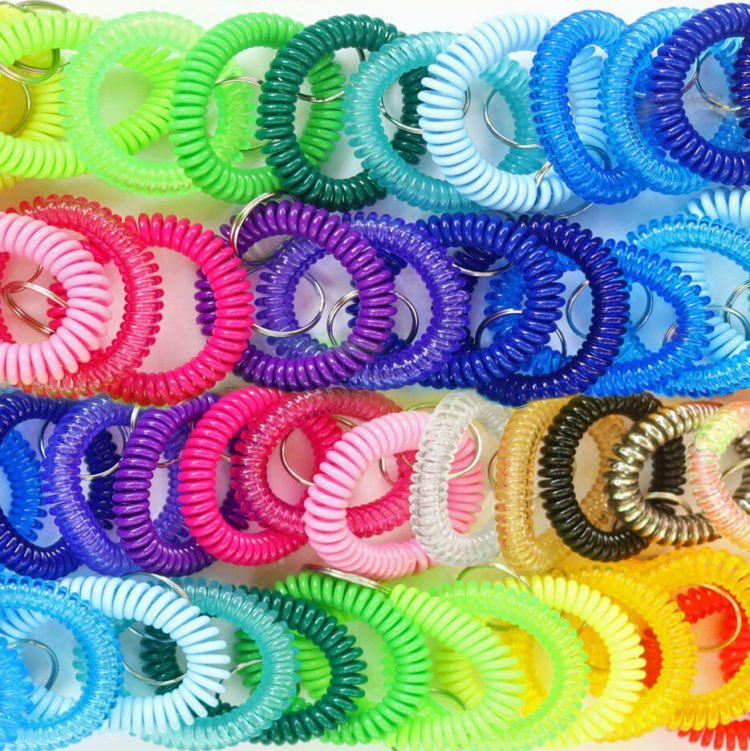 four rows of assorted color wrist coils with split key rings